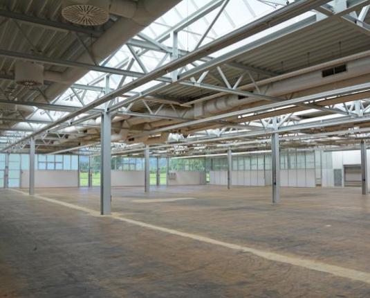 Helle und große Halle mit Dachfenstern