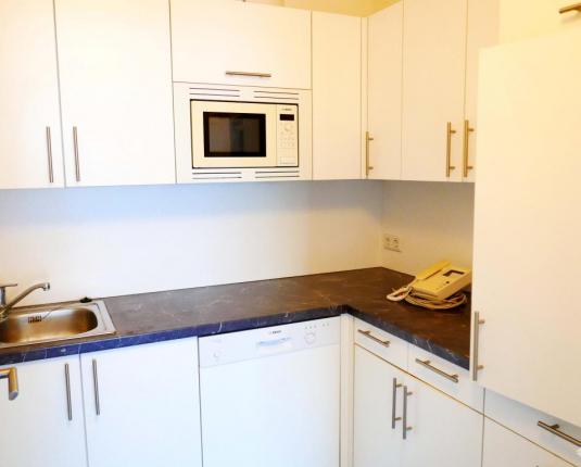 Eingerichtete weiße Küche