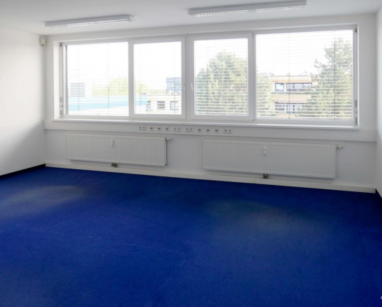Büroraum mit Teppichboden und Fensterfront