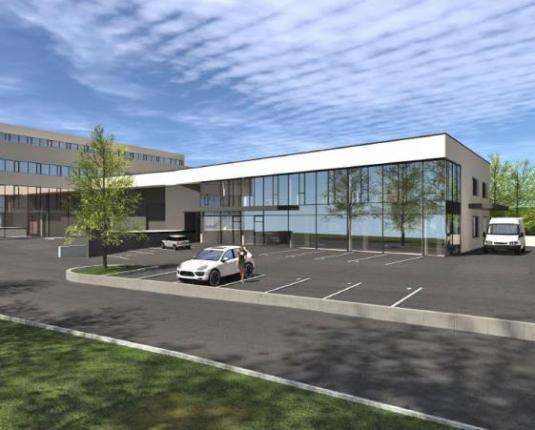 Visualisierung eines Büro-Neubaus mit vielen Glasfronten
