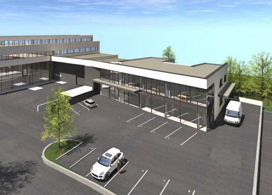 Visualisierung eines geplanten Büro-Neubaus
