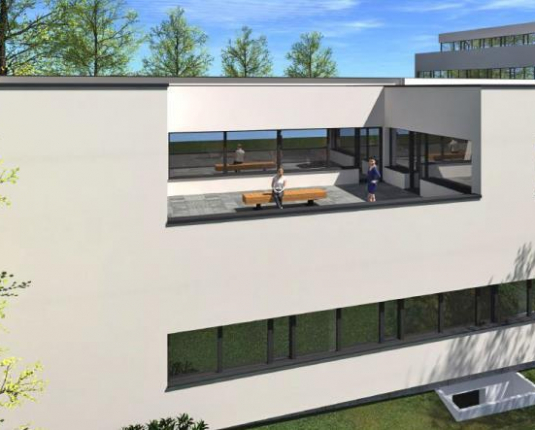 Visualisierung Außenansicht mit Dachterrasse