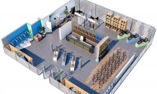Visualisierung der Raumaufteilung eines Geschäftslokals