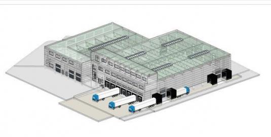 Visualisierung eines Hallen-Neubauprojekts