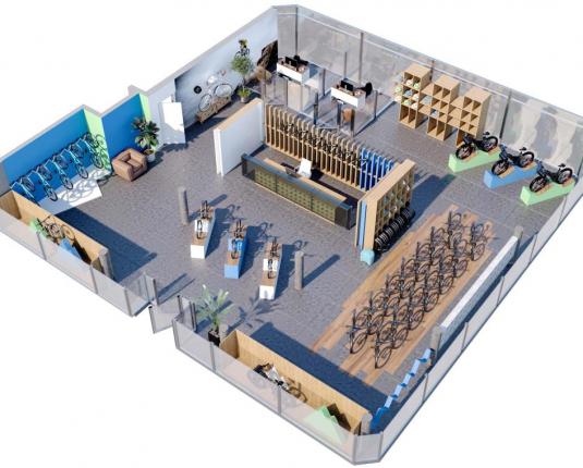 Visualisierung der geplanten Raumaufteilung eines Geschäftslokals