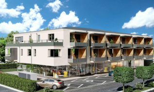 Visualisierung eines Neubauprojekts mit Wohnungen und Gewerbeflächen