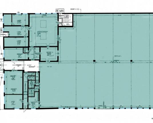 Grundriss Halle und Büro