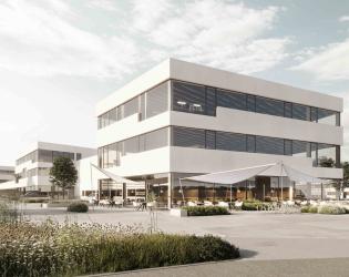 Außenansicht Neubau Gewerbepark in Salzburg